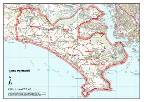 Parishes-Rame-Peninsula-map