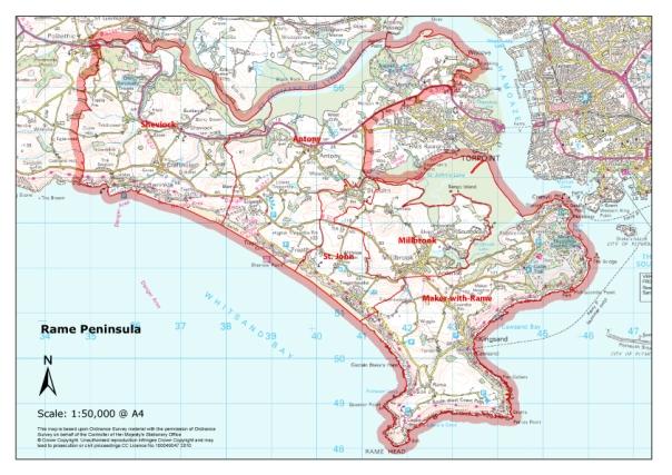 Parishes-Rame-Peninsula-map