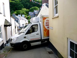 Stuck at the bottom of St Andrews Street, Cawsand